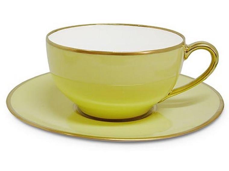 Limoges Legle Tea Cup & Saucer - Pastel Yellow