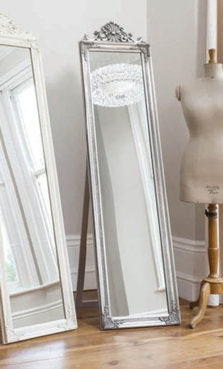 "Lambeth Wood Cheval Mirror Silver 71x18"""" Gallery Direct"""""