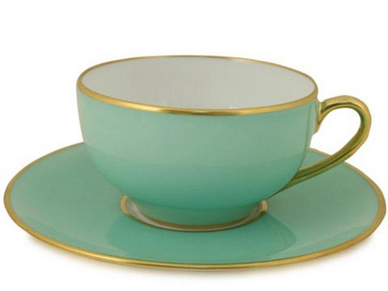 Limoges Legle Tea Cup & Saucer - Water Green