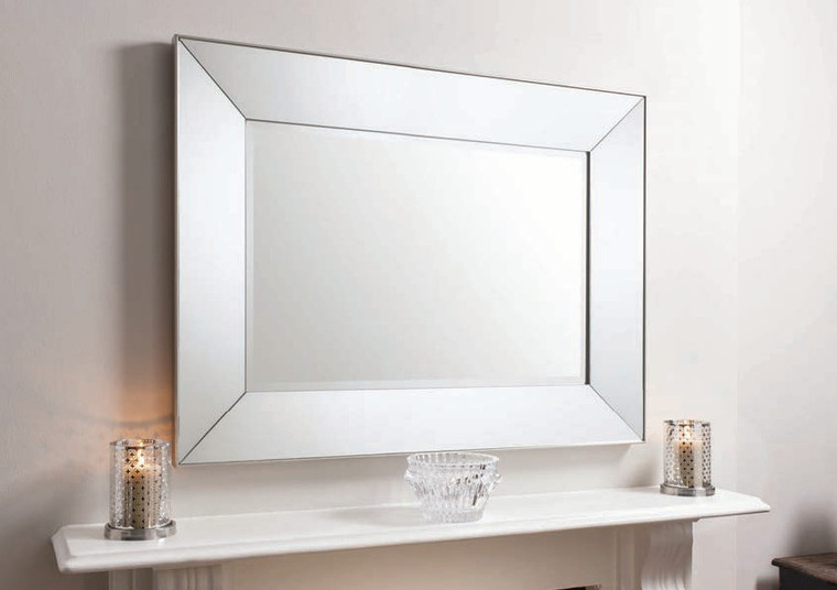 "Vasto Rectangle Mirror Silver 48x36"""" Gallery Direct"""""
