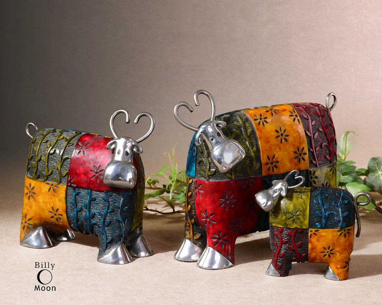 Colorful Cows Figurines S/3 by Uttermost