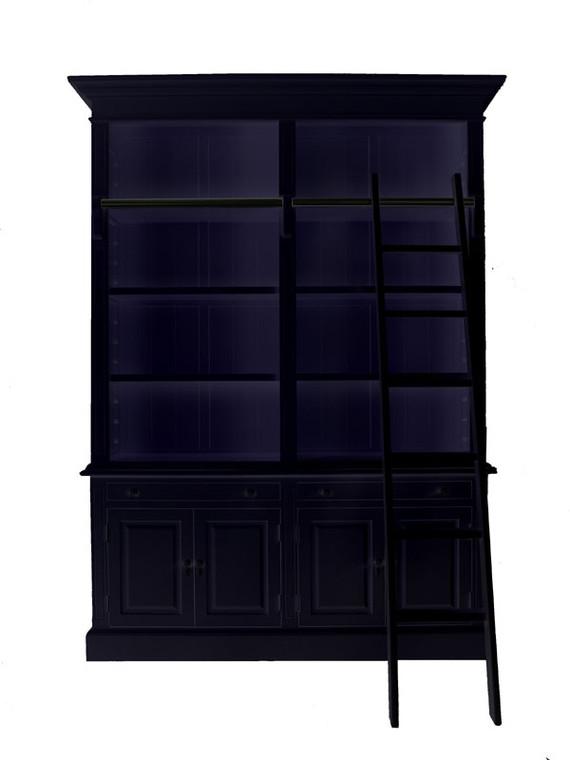 Marseille 4 Door Bookcase + Ladder (Black)