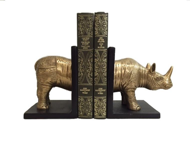 Rhino Brass Bookends