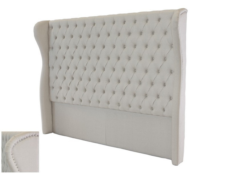 Monarch Tufted King Bedhead - Natural Linen by Maison Living