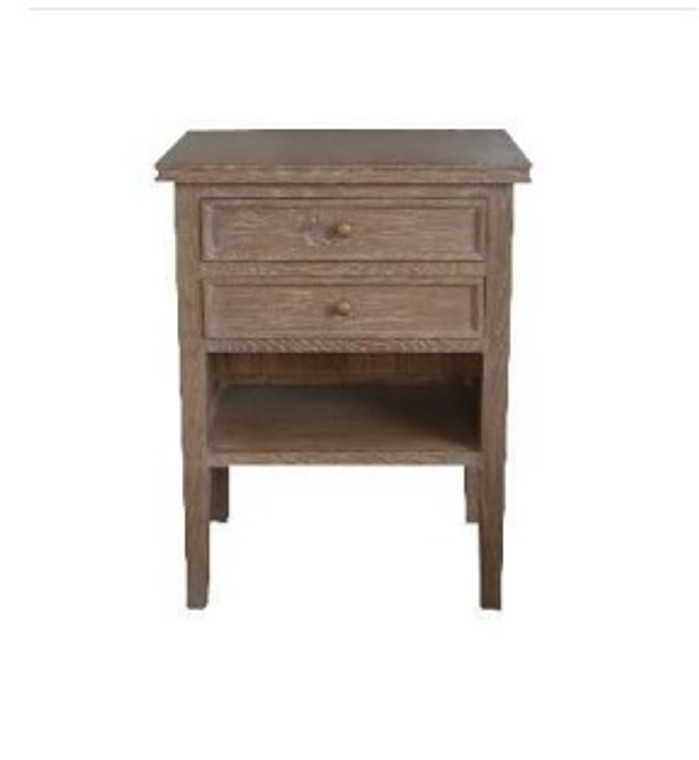 Alton 2 Drawer Bedside - Brown Oak Drifted