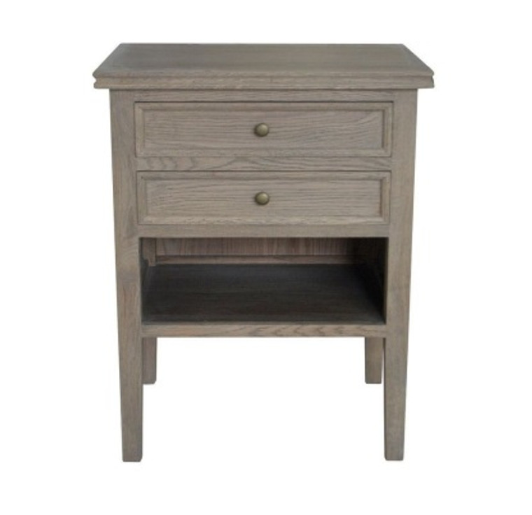 Alton 2 Drawer Bedside - Weathered Oak
