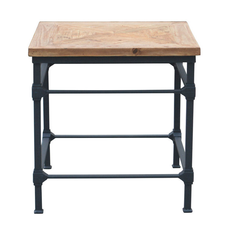 Alsace Vintage Industrial Side Table - Parquet Top