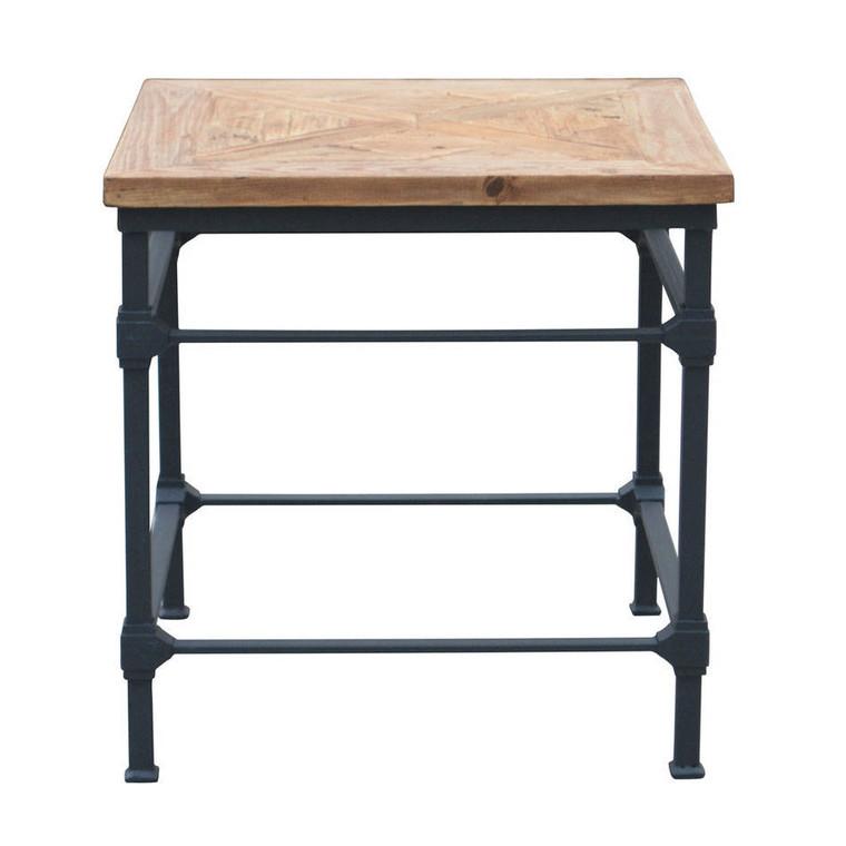 Alsace Vintage Industrial Side Table - Parquet Top