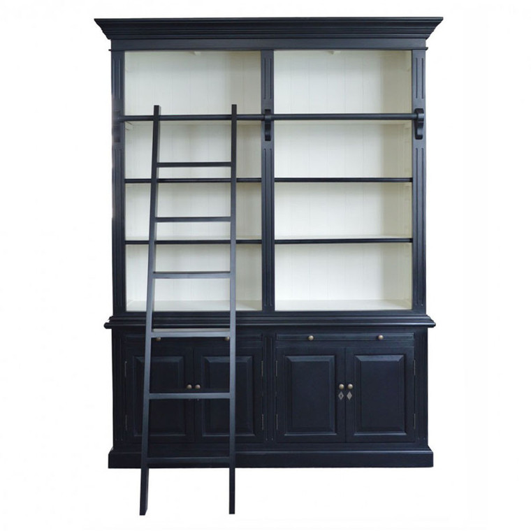 Harrington 2 Bay Library Bookcase - Black/White