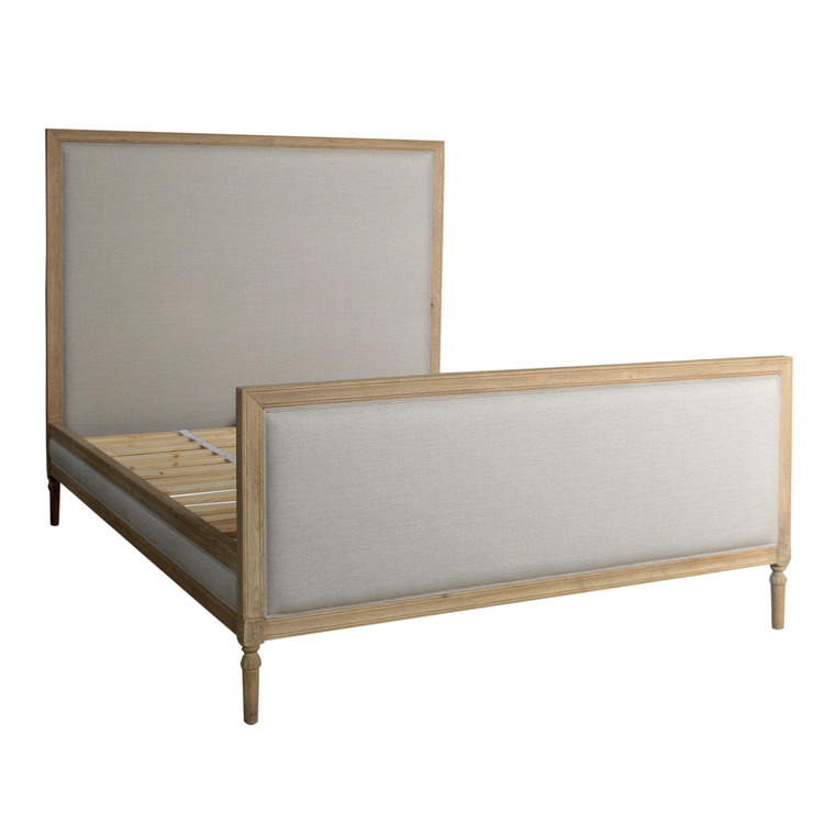 Bordeaux Upholstered Queen Bed - Weathered Oak
