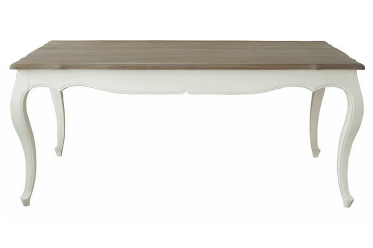 Antoinette Dining Table 200cm (Antique White + Oak Top)