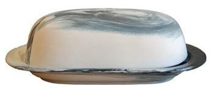 Porcelain Butter Dish Black Marble