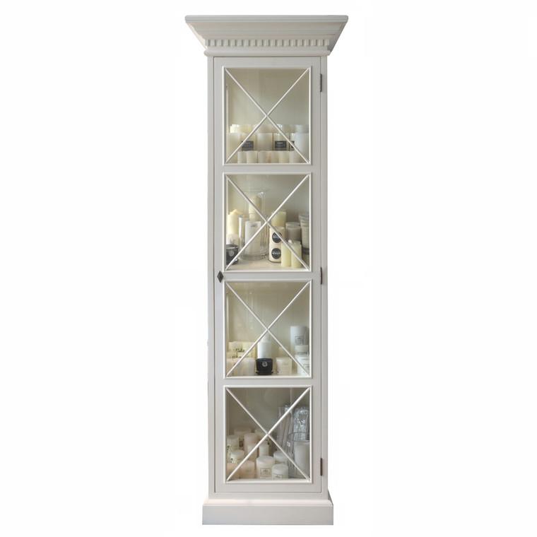 French Cross Display Cabinet 1 Door - Antique White