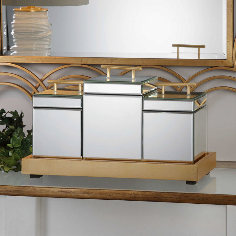 Faustina Boxes and Tray S/4 by Uttermost