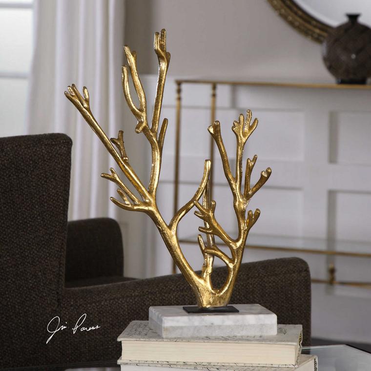 Golden Coral Sculpture by Uttermost