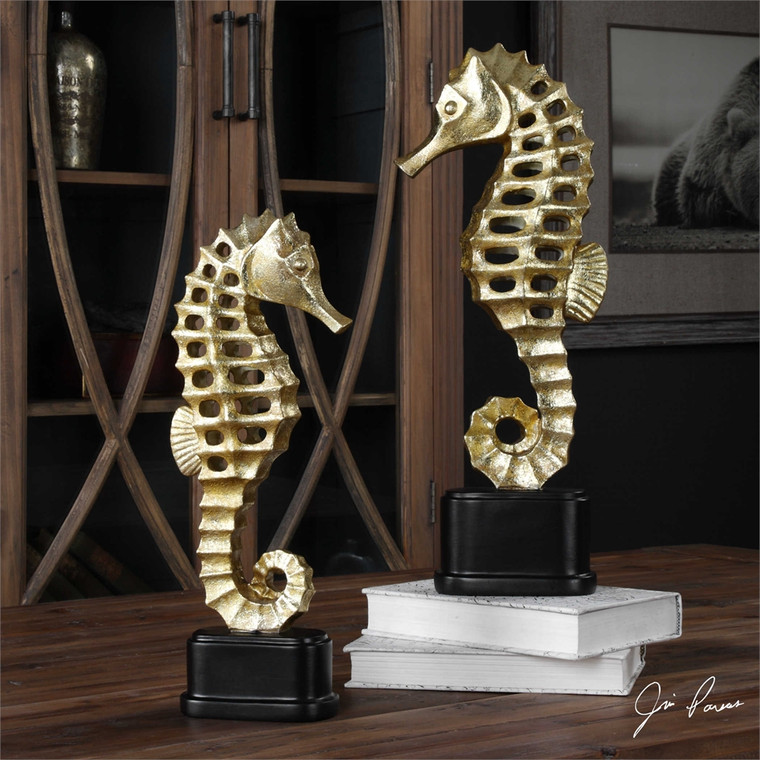 Metallic Sea Horse Figurines S/2 - by Uttermost