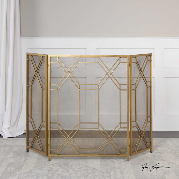 Rosen Fireplace Screen Gold by Uttermost