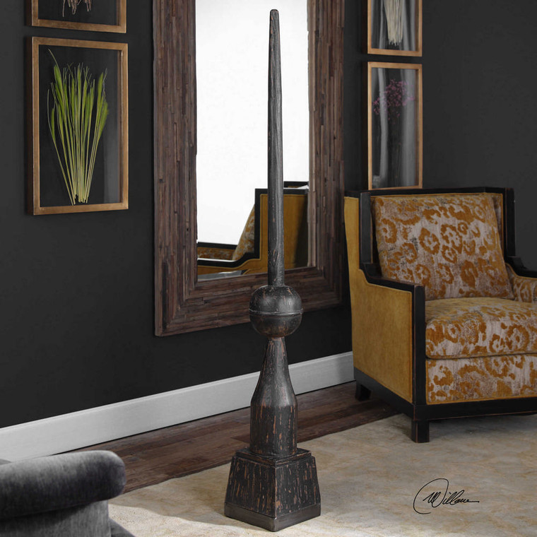 Filippo Floor Finial Black by Uttermost