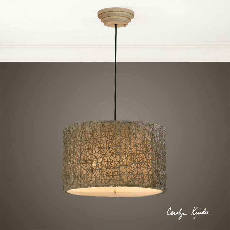 Knotted Rattan Light 3 Lt. Pendant by Uttermost