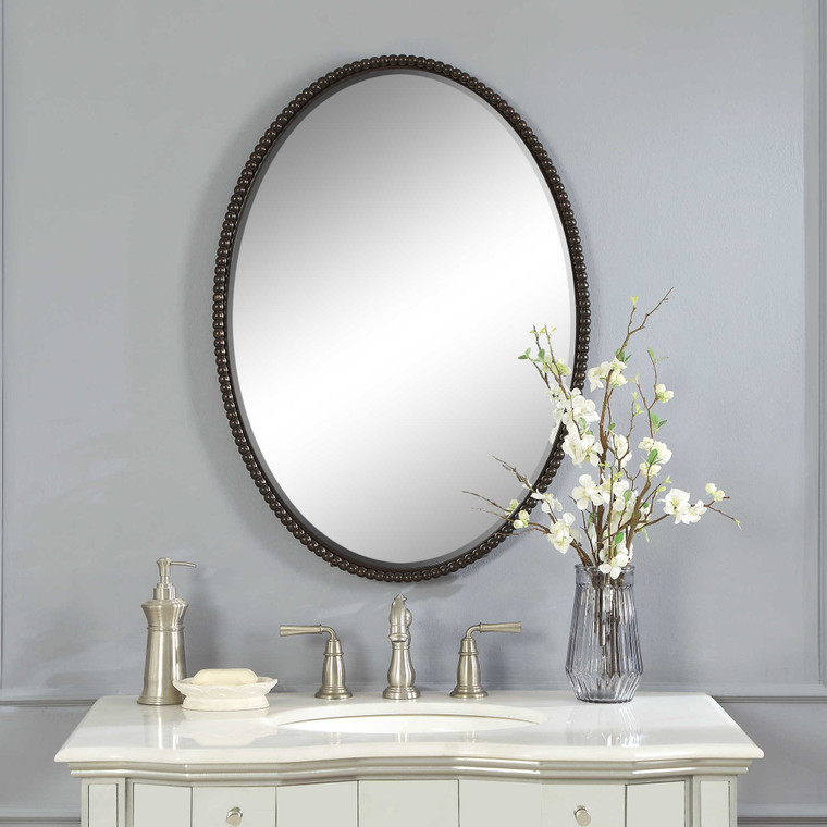Sherise Bronze Oval Mirror by Uttermost
