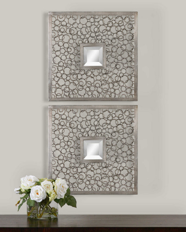 Colusa Squares Mirrored Wall Decor S/2 by Uttermost