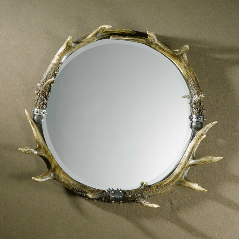 Stag Horn Round Mirror by Uttermost