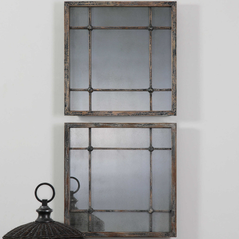 Saragano Square Mirrors S/2 by Uttermost, Fir Wood and Mirror