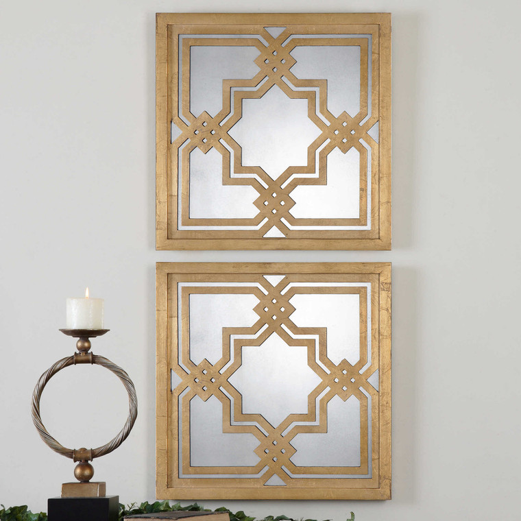Piazzale Mirrored Wall Squares S/2 by Uttermost