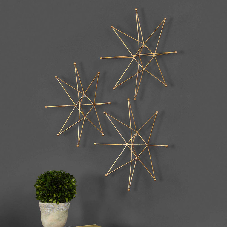 Gold Stars Metal Wall Decor S/3 by Uttermost