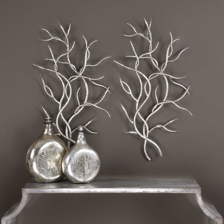 Silver Branches Metal Wall Decor S/2 by Uttermost