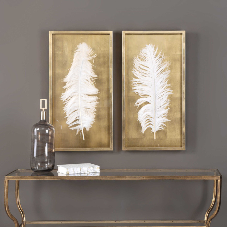 White Feathers Shadow Box S/2 by Uttermost