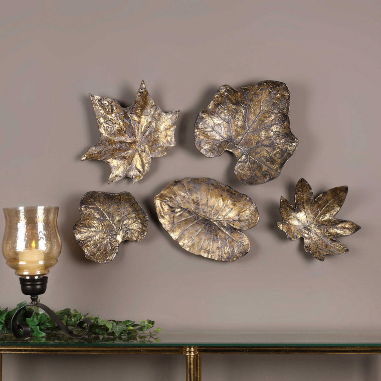 Bronze Leaves Wall Decor S/5 by Uttermost
