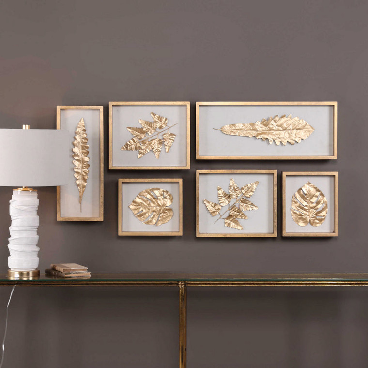 Golden Leaves Shadow Box S/6 by Uttermost