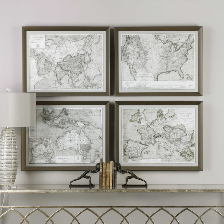 World Maps Framed Prints S/4 by Uttermost
