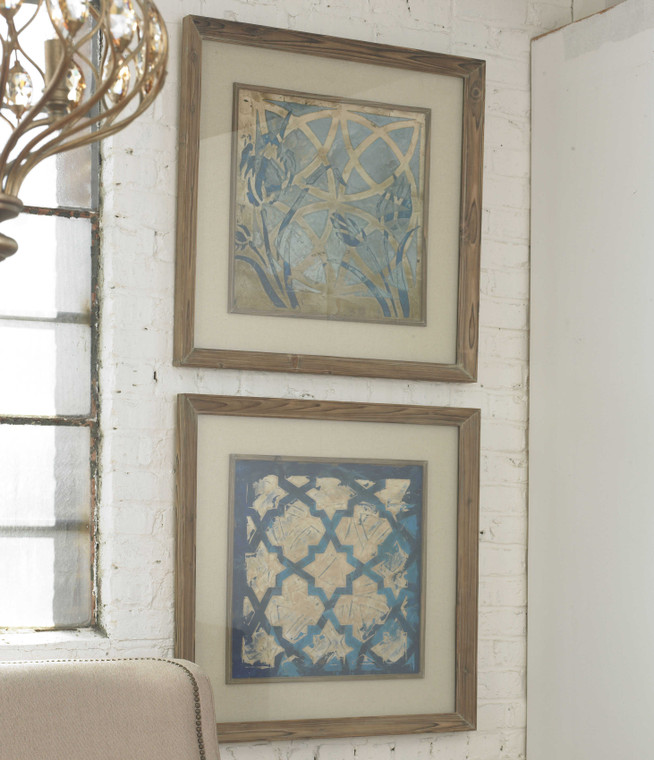 Stained Glass Indigo Framed Prints S/2 by Uttermost