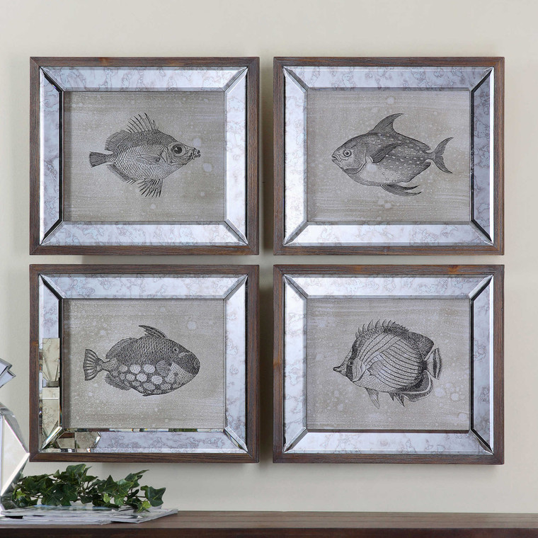 Mirrored Fish Framed Prints S/4 by Uttermost