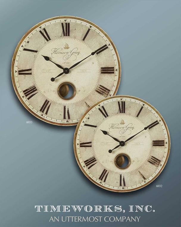 Harrison Gray 58cm Wall Clock by Uttermost