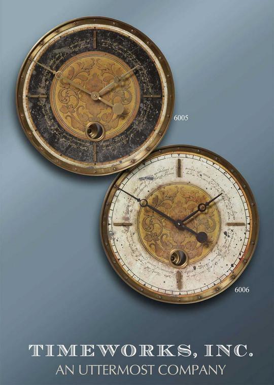 Leonardo Script Cream Wall Clock by Uttermost