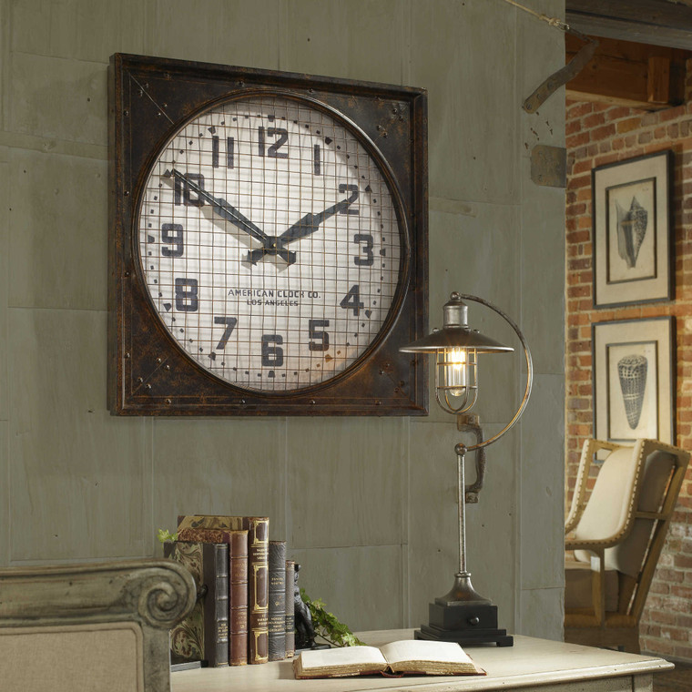 Warehouse Wall Clock with Grill by Uttermost