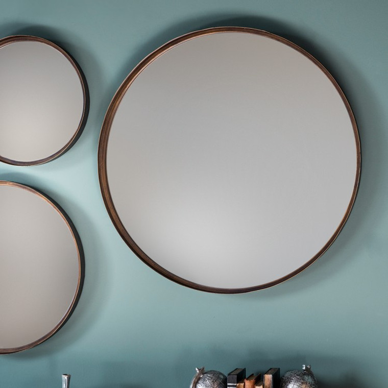 "Reading Round Mirror 24"" with metal frame"