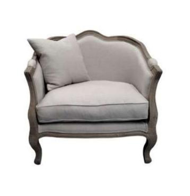 Moliere Tub Chair - Weathered Oak/Linen