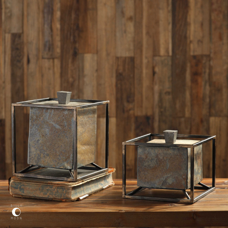 Slate Cube Boxes S/2 by Uttermost