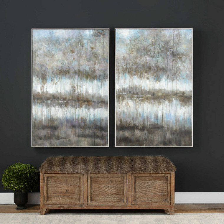 Gray Reflections Hand Painted Canvases S/2 by Uttermost