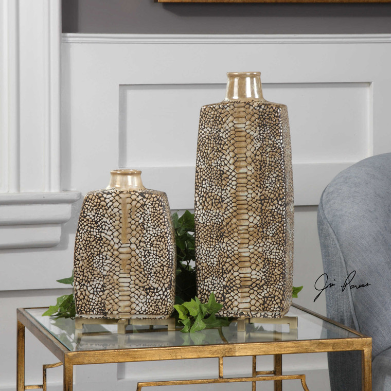 Reptila Vases S/2 by Uttermost