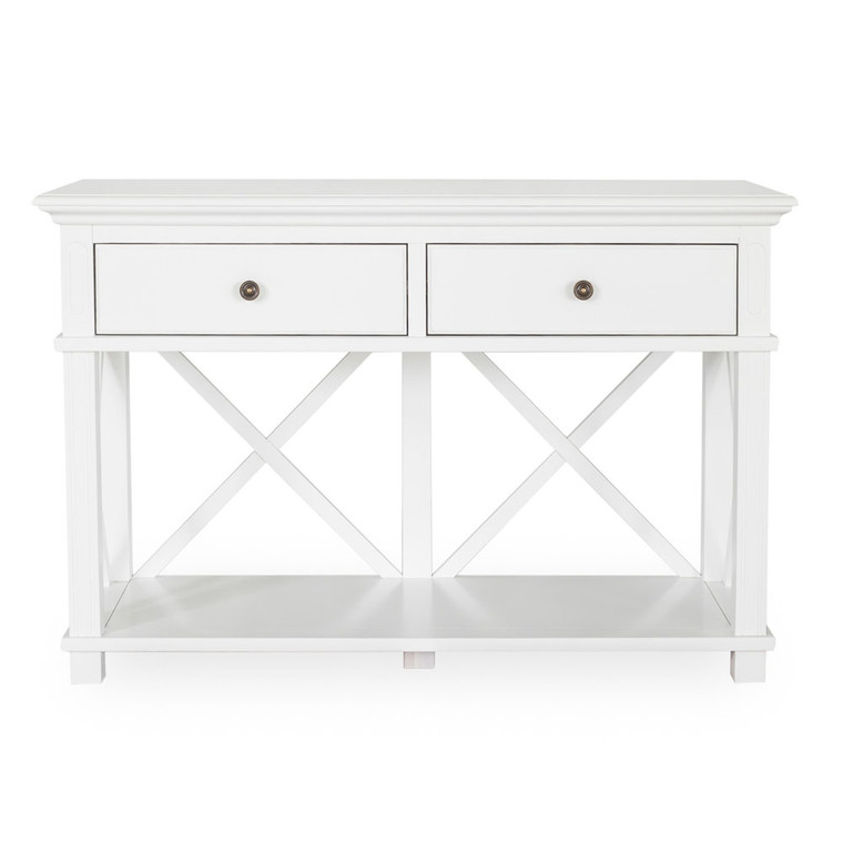 Hamptons Cross Sorrento Console Table 2 Drawer - White