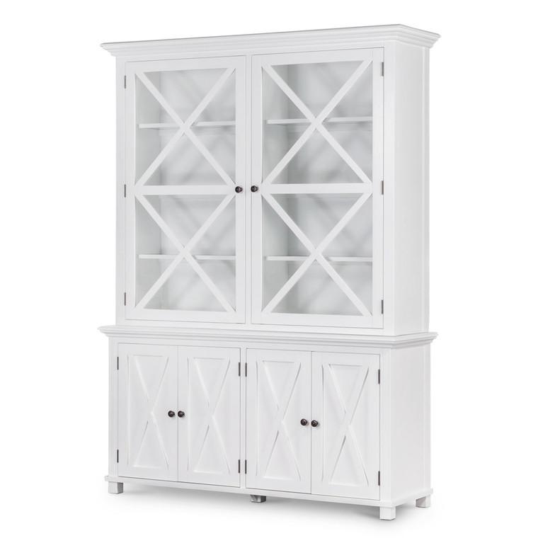 Hamptons Cross Sorrento Display Cabinet 2 Door - White