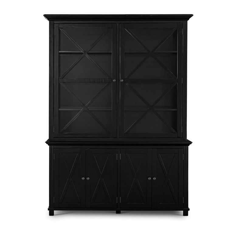 Hamptons Cross Sorrento Display Cabinet 2 Door - Black