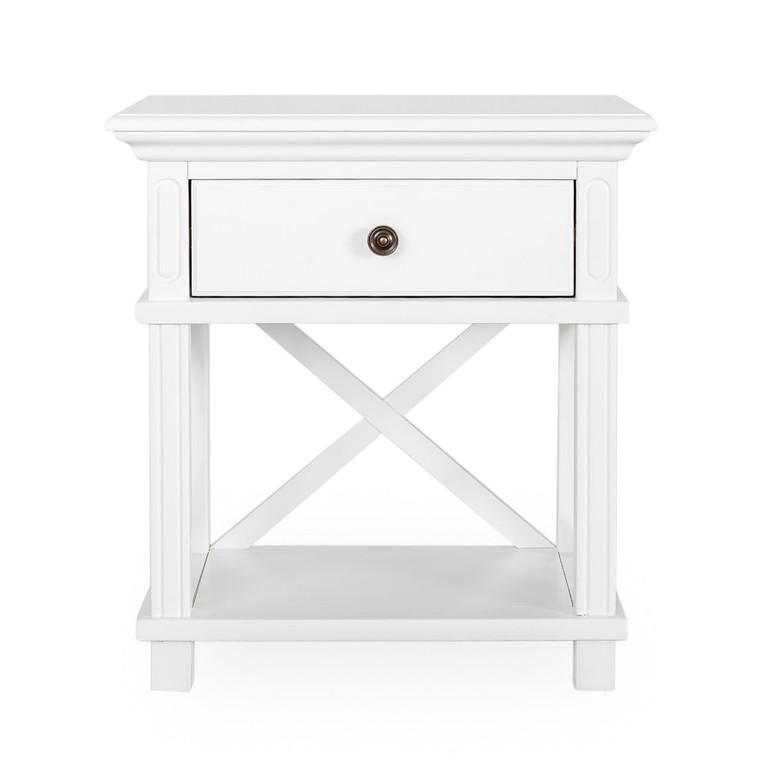 Hamptons Cross Sorrento Bedside Table 1 Drawer - White