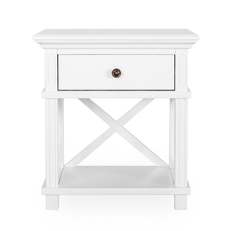 Hamptons Cross Sorrento Bedside Table 1 Drawer - White