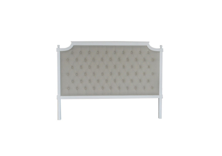 Francesca Tufted Queen Headboard - Natural Linen/Matt White